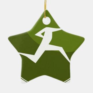 Running Stick Figure Race Man Green Button Ceramic Star Decoration