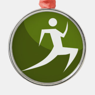 Running Stick Figure Race Man Green Button Silver-Colored Round Ornament