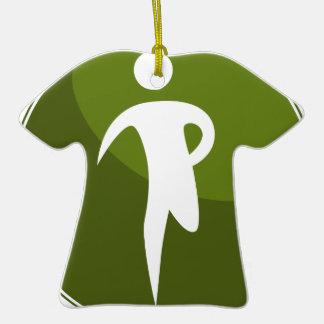 Running Stick Figure Race Man Green Button Ceramic T-Shirt Decoration