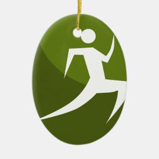 Running Stick Figure Race Man Green Button Ceramic Oval Decoration