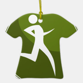Running Stick Figure Race Man Green Button Double-Sided T-Shirt Ceramic Christmas Ornament