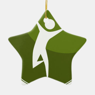 Running Stick Figure Race Man Green Button Double-Sided Star Ceramic Christmas Ornament