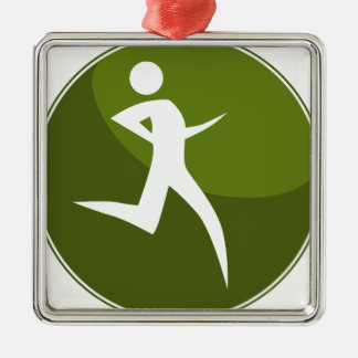 Running Stick Figure Race Man Green Button Square Metal Christmas Ornament