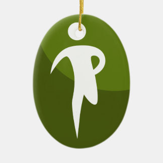 Running Stick Figure Race Man Green Button Double-Sided Oval Ceramic Christmas Ornament