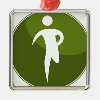 Running Stick Figure Race Man Green Button Silver-Colored Square Decoration