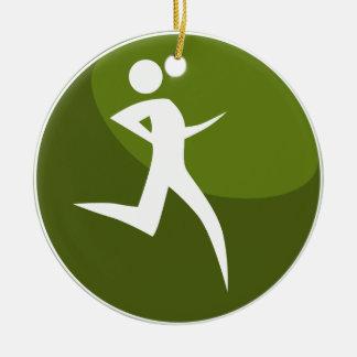 Running Stick Figure Race Man Green Button Round Ceramic Decoration