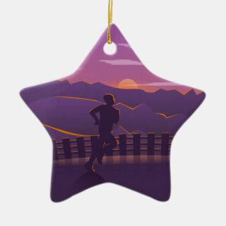 Running sunrise christmas ornament