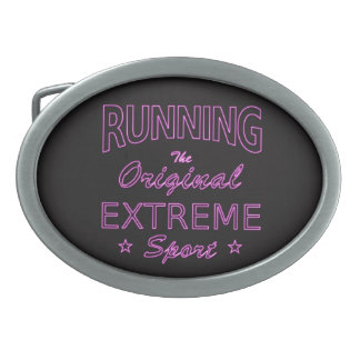 RUNNING, the original extreme sport (pink neon) Belt Buckles