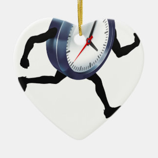 Running Time Concept Clock Ceramic Heart Decoration