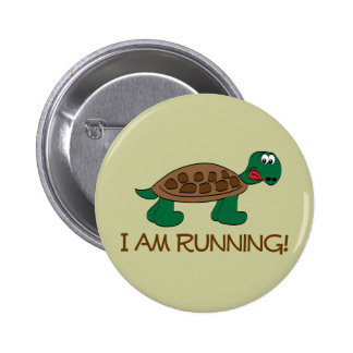 Running Tortoise 6 Cm Round Badge