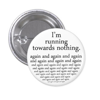Running towards emergency-hung 3 cm round badge