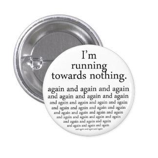 Running towards emergency-hung 3 cm round badge