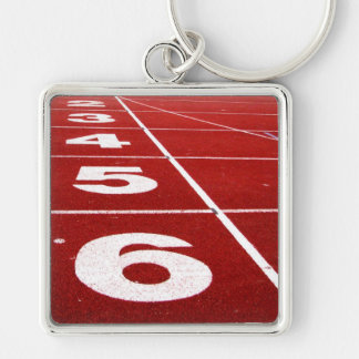Running track Silver-Colored square key ring