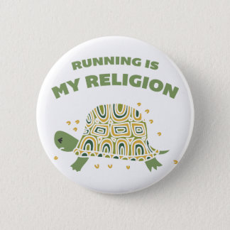 Running Turtle 6 Cm Round Badge