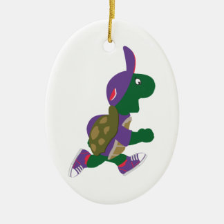 Running Turtle Ceramic Oval Decoration