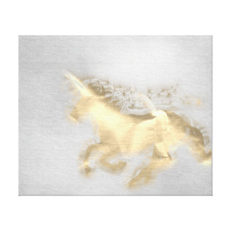 Running Unicorn Horse Gold Sepia Gray Cement Canvas Print