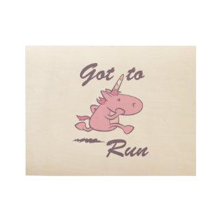 Running Unicorn Wood Poster