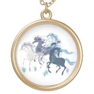 Running Unicorns, plated round necklace