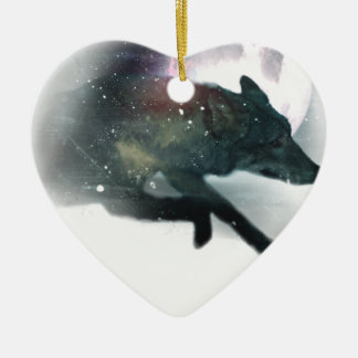 Running Wild Wolf Moon Sky Ceramic Heart Decoration