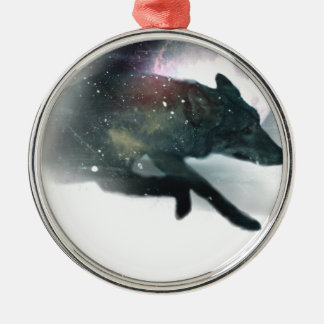 Running Wild Wolf Moon Sky Christmas Ornament