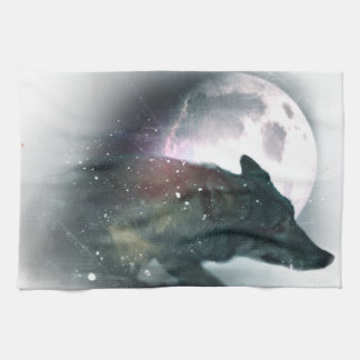 Running Wild Wolf Moon Sky Tea Towel