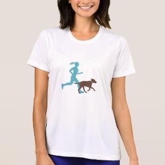 Running with dog (aqua/choc) T-Shirt
