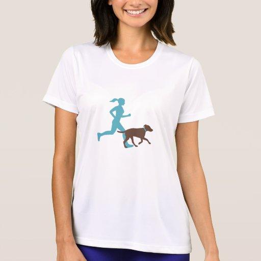 Running with dog (aqua/choc) tshirt