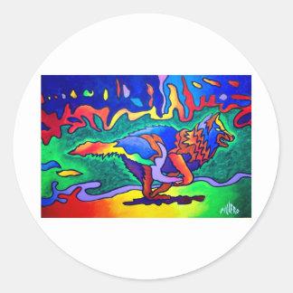 Running Wolf by Piliero Round Sticker