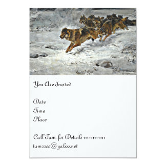 Running Wolf Pack 13 Cm X 18 Cm Invitation Card