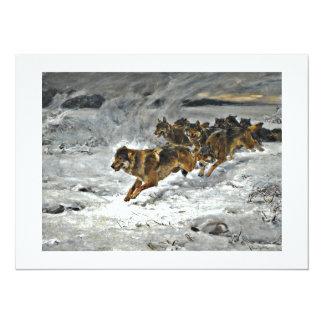 Running Wolf Pack 14 Cm X 19 Cm Invitation Card