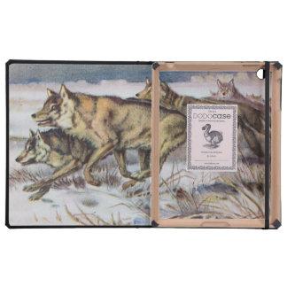 Running Wolves Vintage Illustration iPad Cases