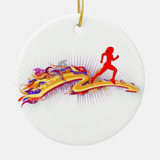 Running Woman Colorful Christmas Ornament