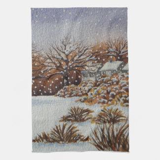 rural cottages snow scene seasonal art design tea towel