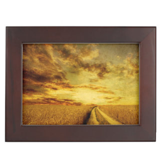 Rural dirt road through the field keepsake box