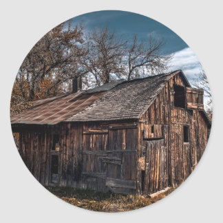 Rural Farm Cabin Or Old Barn Round Stickers
