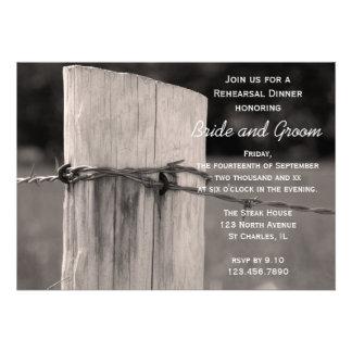 Rural Fence Post Country Rehearsal Dinner Invite