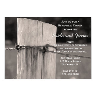 "Rural Fence Post Country Rehearsal Dinner Invite 5"" X 7"" Invitation Card"