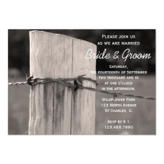 "Rural Fence Post Country Wedding Invitation 5"" X 7"" Invitation Card"