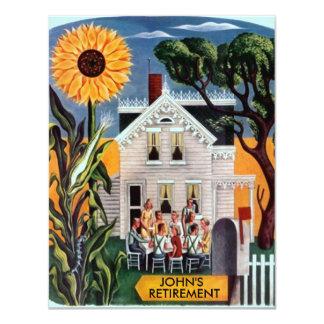 Rural Gathering Sunflower Retirement Invitation