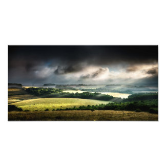 Rural landscape lit up with daybreak sunshine photo print