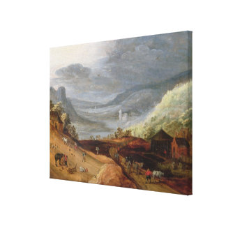 Rural Landscape with a Farmer Bridling Horses, a P Canvas Print