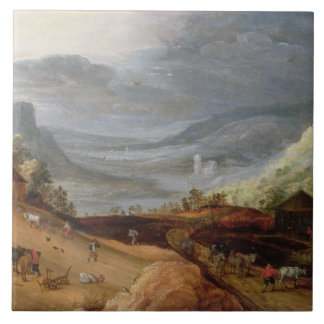 Rural Landscape with a Farmer Bridling Horses, a P Large Square Tile