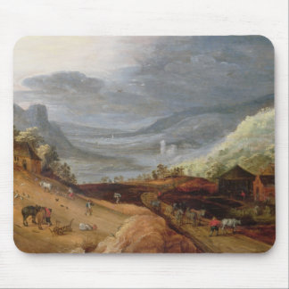 Rural Landscape with a Farmer Bridling Horses, a P Mouse Pad