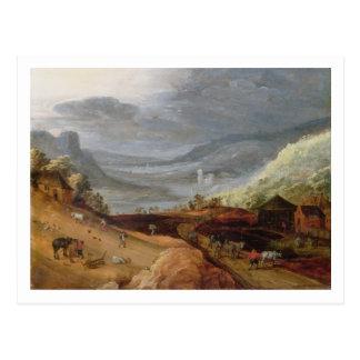 Rural Landscape with a Farmer Bridling Horses, a P Postcard