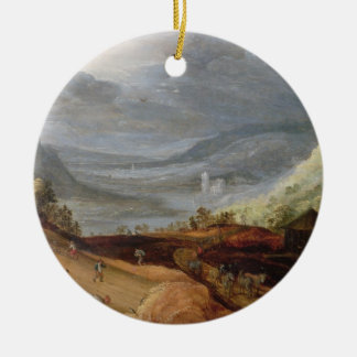 Rural Landscape with a Farmer Bridling Horses, a P Round Ceramic Decoration