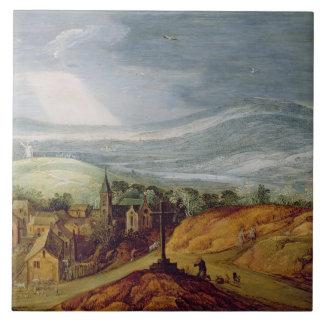 Rural Landscape with a Pilgrim Kneeling Before the Large Square Tile