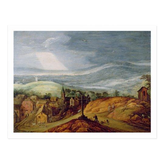 Rural Landscape with a Pilgrim Kneeling Before the Postcard