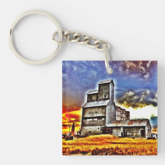 Rural Montana Country Grain Elevator Farmers Gift Double-Sided Square Acrylic Key Ring