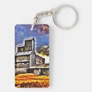 Rural Montana Country Grain Elevator Farmers Gift Double-Sided Rectangular Acrylic Keychain