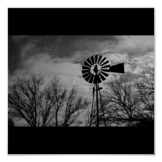 Rural Nebraska antique Windmill Winter Farm Poster